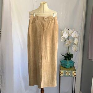 Eddie Bauer tan suede long skirt size 6